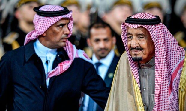 Maj Gen Abdulaziz al-Fagham (L) seen with King Salman in 2017. Photograph: Alexander Nemenov/AFP/Getty Images