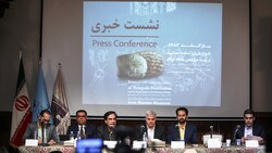Oriental Institute director Christopher Woods (2nd L), director general of Iranian museums Mohammadreza Kargar (3rd L), and deputy tourism minister Mohammad-Hassan Talebian (4th L) address a press conference on Achaemenid clay tablets at the National Museum of Iran, Tehran, October 2, 2019.