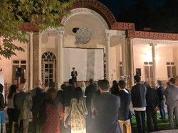 Italian Ambassador Giuseppe Perrone speaks during a ceremony held at his residence on October 4, 2019 in Tehran to introduce an Italian seat and furniture manufacturer.