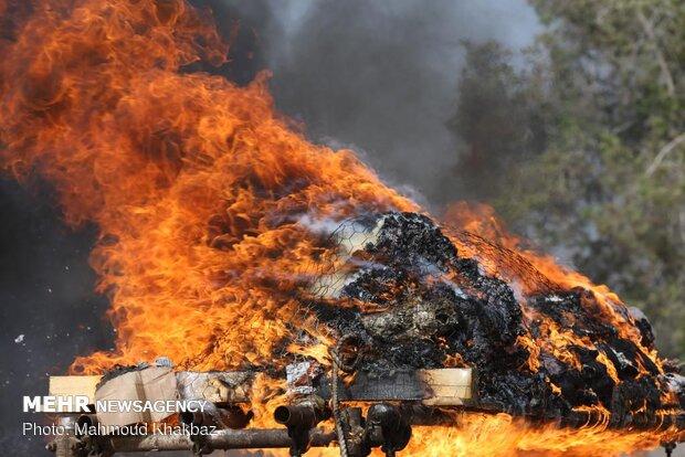 Destroying seized illicit drugs on Kish Island