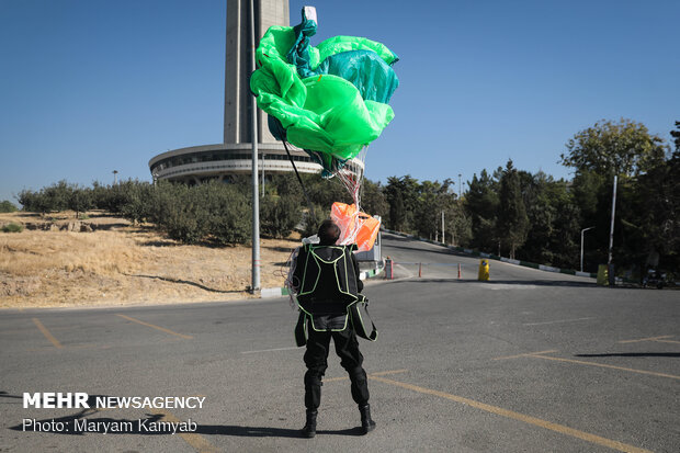Parachuting from Milad Tower