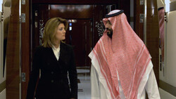 Mohammed bin Salman (R) and Norah O'Donnell