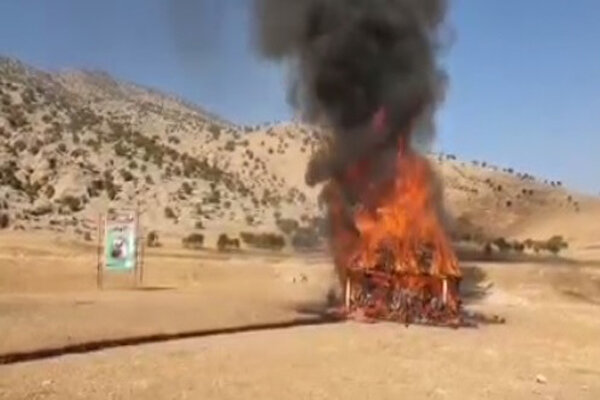 Destroying 1 ton of illicit drugs in Lorestan