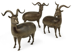 Three silver and brass overlaid steel rams dating from second half of 19th century (Credit: Christie's)