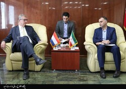 Dutch Ambassador in Tehran Jacques Werner (L) met Iranian Deputy Minister of Energy for International Affairs Mohammad Ali Farahnakian (R) in Tehran on Saturday