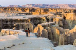 "Travelers visit Darre-ye Setaregan (""The Valley of Stars"") in Qeshm Island, southern Iran."
