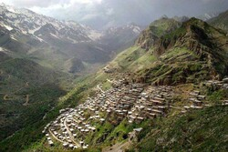 A view of the Uraman landscape. Dense and step-like rows of houses are also seen in the picture in a way that roof of each house forms the yard of the upper one.
