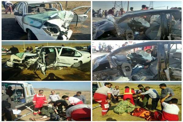 تصادف خودرو پراید و تیبا در رباط کریم/۶مصدوم با بالگرد منتقل شدند