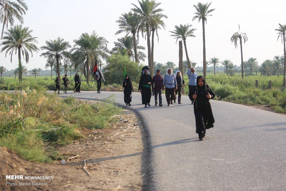 Arbaeen pilgrims on Tariq al-Olama in Iraq