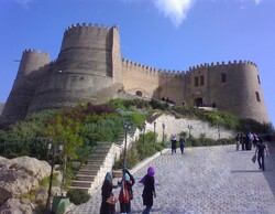 People tour Falak-ol-Aflak fortress, which dominates Khorramabad, the capital of Iran's Lorestan province.