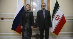 Valentina Ivanovna Matviyenko, the chairwoman of Russia's Federation Council -  Iran's Parliament Speaker Ali Larijani