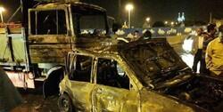 تصادف زنجیره ای در کرمانشاه/۲ خودرو طعمه حریق شد