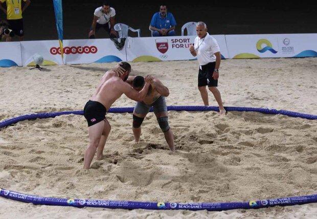 Iran's Rahmani wins gold at beach wrestling