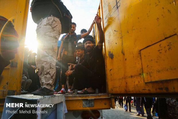 جابجایی زائران با خودروهای سنگین از کربلا