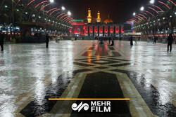 بارش رحمت الهی در کربلای معلی در شام اربعین