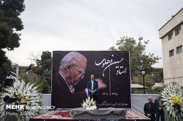 سخنرانی حسین علیزاده در مراسم تشییع پیکر حسین دهلوی