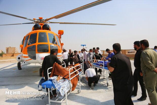 انتقال هوایی ۱۷ بیمار و مصدوم از زائران اربعین از مهران به ایلام