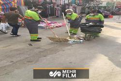 فیلمی از آمادگی پاکبانان برای تمیز کردن مسیر پیادهروی اربعین