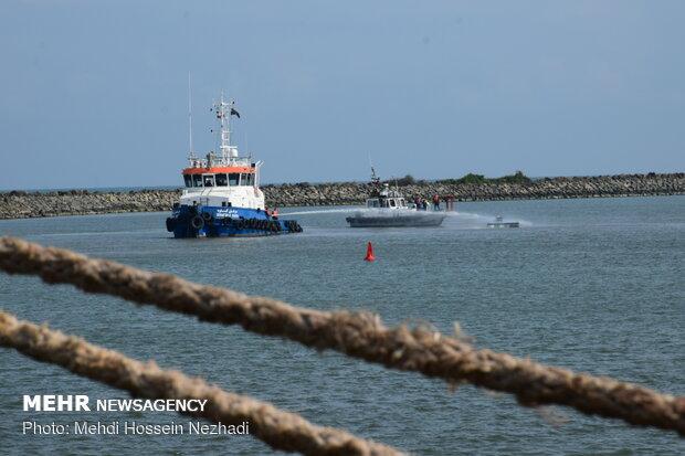 مانور جستجو و نجات دریایی در بندر مرزی آستارا
