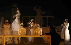 "Iranian director Reza Saberi's troupe perform ""Swan Lake"" at the City Theater Complex in the northeastern Iranian city of Mashhad on August 25, 2018. (Borna/Ahmad Hadi)"