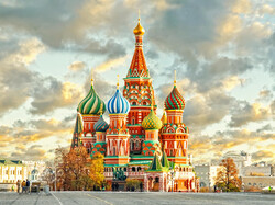 St. Basil's Cathedral in Red Square, Moscow, Russia.