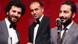 This combination photo shows Iranian directors Saeid Rustai (L) and Reza Jamali (C), and actor Navid Mohammadzadeh after accepting their awards at the 32nd Tokyo International Film Festival on Novembe