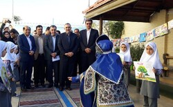 Cultural officials attend the opening ceremony of the 27th Iran Book Week at a school in Yazd on November 13, 2019.