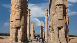 People visit the monumental Gate of All Nations in the UNESCO-registered Persepolis, Fars province, southern Iran.
