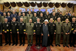Foreign military attaches in Tehran meeting with Navy cmdr.