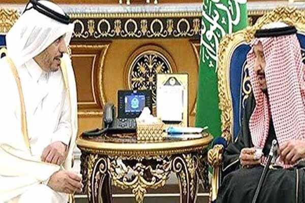 دیدار ملک سلمان با نخست وزیر قطر در ریاض