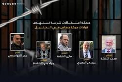 حملة اعتقالات صهيونية شرسة تستهدف قيادات حركة حماس في الخليل