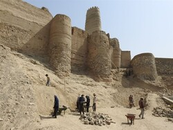Archaeologists and restorers commence a new round of work on the ancient Manujan fort in the southeastern Kerman province, January 2019.