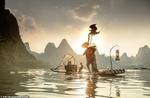 صید ماهی به روش ماهیگیر چینی