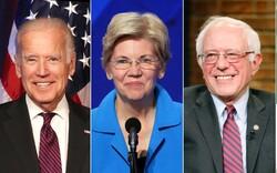 From left: Former Vice President Joe Biden, Sen. Elizabeth Warren, Sen. Bernie Sanders