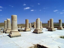 Ruins of a historical royal structure at the UNESCO-registered Pasargadae in southern Iran.