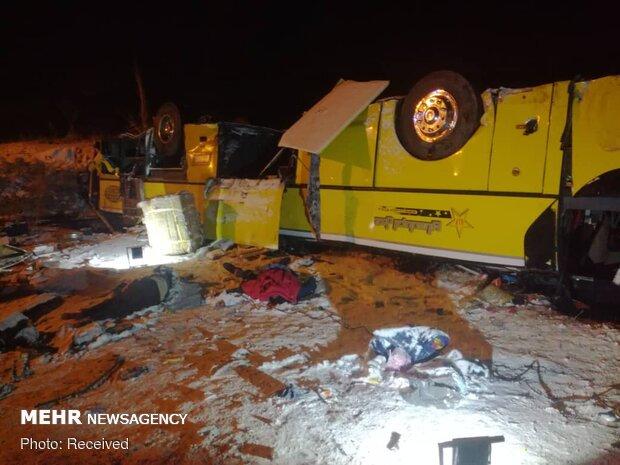 واژگونی اتوبوس در محور هشترود مراغه/ ۹ نفر مصدوم شدند
