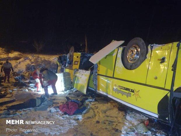 جزئیات واژگونی اتوبوس مشهد - باکو در شهرستان میانه