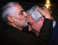 Quds Force commander Major-General Qassem Soleimani kisses filmmaker Ebrahim Hatamikia in an undated photo.