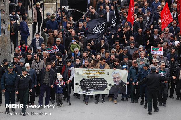 راهپیمایی مردم همدان در پی شهادت سردار سپهبد حاج قاسم سلیمانی