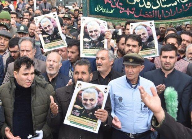 راهپیمایی ضد آمریکایی مردم شهرضا درپی شهادت سردار سلیمانی