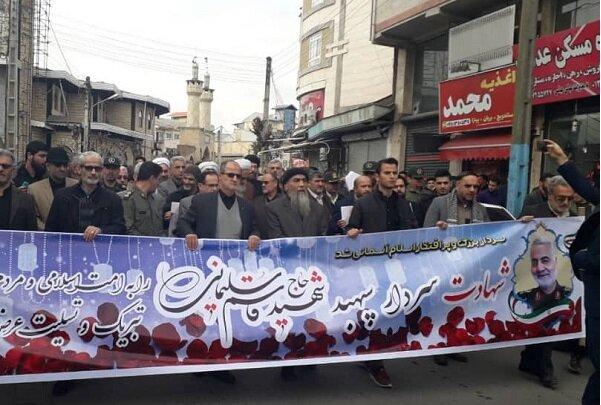 عزاداری مردم شهرهای مختلف استان گیلان در پی شهادت سردار سلیمانی