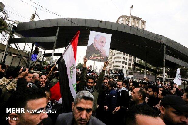 Funeral procession of Lt. Gen. Soleimani, Al-Mohandes in Kazemein