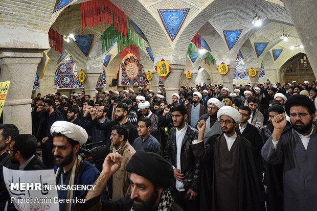 تجمع حوزویان شیراز در گرامیداشت شهادت سپهبد قاسم سلیمانی
