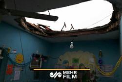 ریزش سقف بر سر دانشآموزان در کلاس درس در میناب
