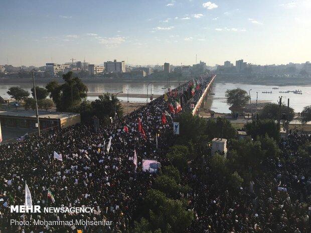 تشييع جثمان القائد سليماني وابو المهدي المهندس في مدينة الأهواز
