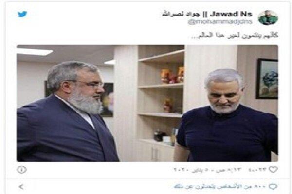 نجل السيد نصر الله ينشر صورة لوالده مع الفريق سليماني
