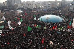 تہران میں شہید قاسم سلیمانی کی تشییع کے لئے عوام کا سیلاب امڈ آیا