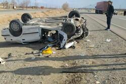 واژگونی خودروی سواری ۱ کشته و ۴ زخمی در پی داشت