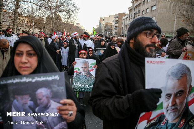 مراسم تشییع شهید سپهبد حاج قاسم سلیمانی و همرزمانش در تهران
