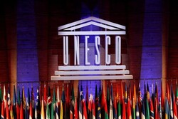 The UNESCO logo is seen during the opening of the 39th session of the General Conference of the United Nations Educational, Scientific and Cultural Organization (UNESCO) at their headquarters in Paris, France, October 30, 2017. (REUTERS/Philippe Wojazer)